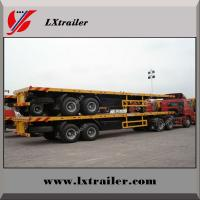 Quality 3 Axles 40ft Flat bed Trailer With Tool Box , Container Loading Semitrailer for sale