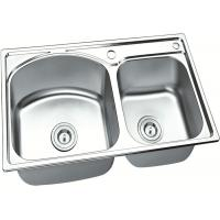 China Brushed Stainless Steel Sink Bowl / Double Undermount Sink  750 X 400 MM X 150 MM Deep on sale