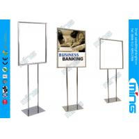 China Chrome Plated Metal Sign Holder / Double Sided Floor Standing Style on sale