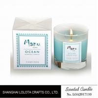 Buy Blue One Wick Natural Scented Candle Thick Bottom For Relieve Nerves at wholesale prices