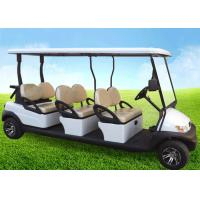 Quality White Four Wheels 6 Person Golf Cart , Road Legal Golf Buggy With Long Roof for sale