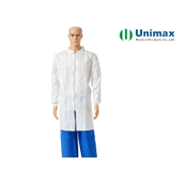 Quality 2016/425 PP Protective Disposable Lab Coat for Visitor/Industry Safety for sale
