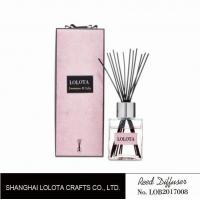 Buy silver cap square bottle reed diffuser with ribbon pink folding box at wholesale prices
