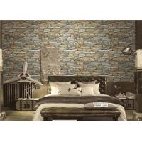 China Bedroom Vintage 3D PVC Wallpaper , Faux Brick Removable Wallpaper Brown Color on sale