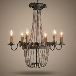 Quality Wood Bead Chandelier Light Fixtures 6 Lights For Living room Bedroom Lighting (WH-CI-05) for sale