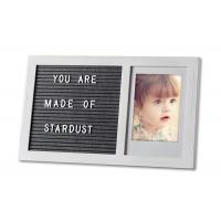 Quality Changeable Felt Letter Board Wooden Photo Frame With White Letters for sale