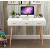 Nordic Style White Office Wood Computer Desk With Three Sliding Drawers