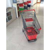 Quality Grey Powder Coating Grocery Trolley Cart , Large Capacity Shopping Trolley 4 Inch PU Casters for sale