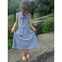 Blue Striped Age 5 Little Girl Summer Dresses Long Bow Girls Knot Dress OEM