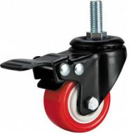 China light duty 2 threaded stem PU caster with brake, 2.5 inch, 3 inch PU castor with brake on sale
