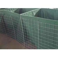 Quality Square Hole Military Hesco Barriers Gabion Mesh Box With Green Geotextile for sale