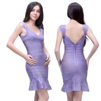 Quality 2014 new arrival sample design v neck ruched sleeveless purple short bandage dress for sale