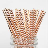 Quality Colorful Gold Stamping Wave Pattern Decorative Paper Drinking Straws Customized Size for sale