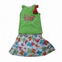 China 100% Cotton Baby Clothing Set/Knitted Top and Woven Shorts, Suitable for NB/INF/TODD/4-7 on sale
