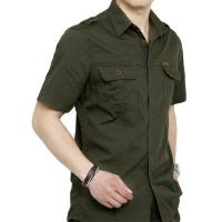 Quality British Leisure Style Men's Work Uniform Shirts 2 Arm Buckle Solid Color Stitching Lapel for sale