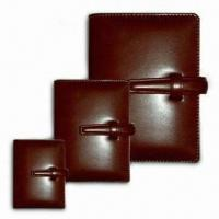 China Belt-style Closure PU Leather Portfolios, Available in Three Sizes on sale