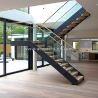 Quality Modern L-shape Wood Staircase Design / Internal Used Glass Railing Wood Stairs for sale