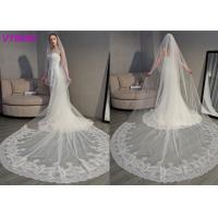 Quality Long Soft Lace Ivory Wedding Veils / 3D Flowers Edging Muslim Bridal Veil 5 Meters for sale