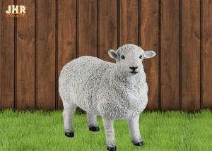 China White Life Size Fiberglass Dolly Sheep Statue Animal Sculpture Garden Decor on sale