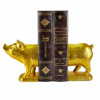 Buy Polyresin Piggy Home Decor Bookends With Gold Gilded Urban Customized Size at wholesale prices