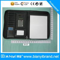 Quality A4 zip pu leather portfolio/folder with calculator and notepad for sale