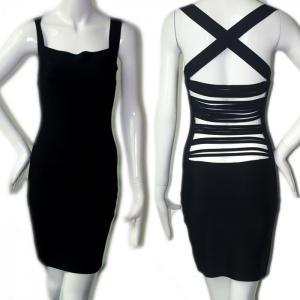 Quality new fashion unique design sexy elegant black back strap short party bandage dress for sale