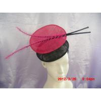Quality Two Sinamay Shape Ladies Fascinator hats With Coque Feather For Christmas , Halloween for sale