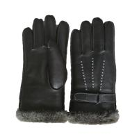 China Winter Lamb Fur Lined Mens Soft Leather Gloves With Belt Plain Style on sale