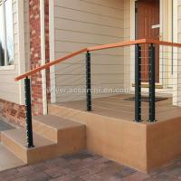 Quality Stainless Steel Wire Decking Balustrade with Oak Wood Top Handrail for sale