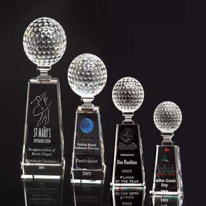China Laser Etched Optical Crystal Golf Trophy on sale