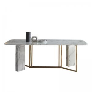 China Luxury Designs Modern Italian White Marble Dining Table Set on sale