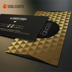 China China Manufacturer Embossed Number Hard Plastic Black Metal Golden Business Cards for sales on sale