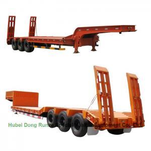 Quality Gooseneck  Tri-axle Hydraulic Ladder Lowbed Semi Trailer Heavy Machine 60ton,80Ton for sale