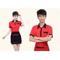 Quality Red And Black Color Restaurant Staff Uniform Cotton New Polo Style For Waitresses for sale
