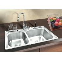 Quality Handmade Kitchen Project Sink / Double Bowl Stainless Top Mount Sink for sale