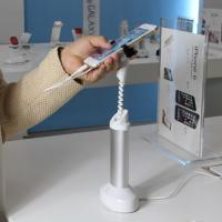 Quality COMER cell phone table holder cell phone security display holder with alarm sensor and charging cord for sale