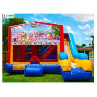 Quality 7 In 1 Kids Shopkin Inflatable Bounce Houses With Basketball Hoop N Obstacles Inside for sale