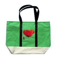 Quality Customized Green Non Woven Grocery Bags with Silk Screen Printed Logo for sale