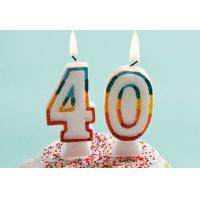 Buy Glitter Number Birthday Candles , 40th Anniversary Cake Candles Food Grade at wholesale prices
