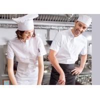 Quality Single Breasted Custom Work Shirts , White Short Sleeve Embroidered Chef Coats for sale