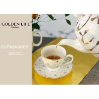 240ml new bone china eco friendly reusable coffee cup and saucer set porcelain with real gold pattern