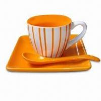 China Espresso Cup and Saucer Set in Color Glaze with Spoon on sale