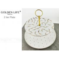 Quality Modern Pattern Ceramic Fruit Plates Cake Banquet Pastry Tray Gold Color Metal Stand for sale