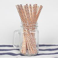 Buy Colorful Gold Stamping Wave Pattern Decorative Paper Drinking Straws Customized at wholesale prices
