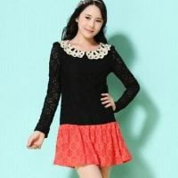 China Women's Lace Dress, Collision Color, Peter Pan Collar on sale