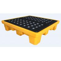 Quality Rotational Moulding 4 Drum Spill Containment Pallet PE Yellow 1300*1300*300mm for sale