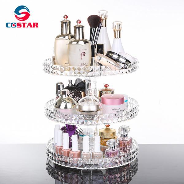 Diamond surface cutting process transparent acrylic cosmetic storage box desktop swivel shelf makeup organizer