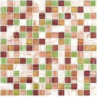 Buy Special spring gree gold line glass mosaic mix pattern square mosaic tile at wholesale prices