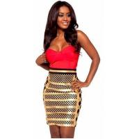 Quality Anti - Wrinkle Gold Foil Bandage Dress Sleeveless Rayon Nylon Spandex Material for sale