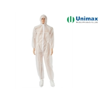 Quality Unimax Medical PP Coated PE Disposable Protective Coveralls for sale